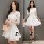 ชุดเดรสเกาหลี พร้อมส่งEmbroidered White Pearl Dress thumbnail 4