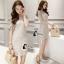 ชุดเดรสเกาหลี พร้อมส่งNelly Luxury Soft Silver Lace Cocktail Dress thumbnail 2