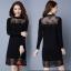 Round-Neck Lace Straight Knit Dress thumbnail 2