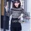 เสื้อผ้าเกาหลีพร้อมส่ง เสื้อแขนยาวผ้าลูกไม้สีขาว-ดำพร้อมเกาะอกสีนู้ด thumbnail 1