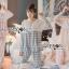 เสื้อผ้าเกาหลี พร้อมส่งเซ็ตชุดนอนผ้าคอตตอนลายตารางสีพาสเทล thumbnail 3
