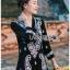 ชุดเดรสเกาหลี พร้อมส่งเดรสสีดำปักลายลูกน้ำสไตล์โบฮีเมียน thumbnail 2