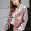 Cathy Sporty Feminine Embroidered Pink Bomber Jacket thumbnail 5