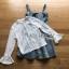 ชุดเดรสเกาหลี พร้อมส่งเดรสผ้าเดนิมสกรีนลายดาวทับเสื้อลูกไม้สีขาว thumbnail 17
