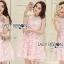 ชุดเดรสเกาหลี พร้อมส่งเดรสผ้าเครปสีชมพูปักผีเสื้อตกแต่งสร้อยคอมุก thumbnail 3