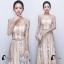 ชุดเดรสเกาหลี พร้อมส่งMorgan Luxury Golden Dress thumbnail 5