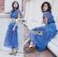 ชุดเดรสเกาหลี พร้อมส่งเดรสผ้าลูกไม้สีฟ้าตกแต่งโบสไตล์ Self-Portrait thumbnail 9