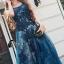 ชุดเดรสเกาหลี พร้อมส่งLong dress แขนกุดผ้ามุ้งสีกรม สองชั้น thumbnail 6