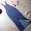 เสื้อผ้าเกาหลี พร้อมส่งเอี้ยมยีนส์ยืด ผ้ายีนส์ฮ่องกง แบบผ่าหน้าขา thumbnail 10