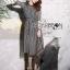 ชุดเดรสเกาหลี พร้อมส่งเดรสยาวผ้าชีฟองพิมพ์ลายตารางสีขาว-ดำ thumbnail 2