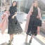 ชุดเดรสเกาหลี พร้อมส่งlong dress ฉลุสีกรม แขนสั้นซับในเย็บติดสีเนื้อช่วงอกยาวเหนือหัวเข่า thumbnail 7