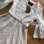 ชุดเดรสเกาหลี พร้อมส่งเดรสผ้าลูกไม้สีขาวงาช้างแขนบานพร้อมเข็มขัด thumbnail 7