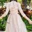ชุดเดรสเกาหลี พร้อมส่งLong dress สีชมพูโอรส แขน 5 ส่วน thumbnail 4