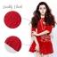 เสื้อผ้าเกาหลี พร้อมส่ง เดรสสั้นสีแดงสด แต่งประดับมุกรอบตัว ชายกระโปรงระบายบาน thumbnail 2