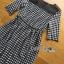 ชุดเดรสเกาหลี พร้อมส่งเดรสยาวผ้าชีฟองพิมพ์ลายตารางสีขาว-ดำ thumbnail 7
