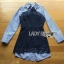 เสื้อผ้าเกาหลี พร้อมส่งเชิ้ตเดรสผ้าป็อบลินคอตตอนลายทางตกแต่งลูกไม้สีน้ำเงิน thumbnail 9