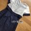 ชุดเดรสเกาหลีพร้อมส่ง เดรสผ้าซิลค์คอตตอนสีขาว-น้ำเงินปักตกแต่งดอกไม้ thumbnail 12