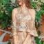 เสื้อผ้าแฟชั่นเกาหลีพร้อมส่ง Lovely Gold Blossom Lace Pleaty JumpSet thumbnail 1
