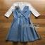 ชุดเดรสเกาหลี พร้อมส่งมินิเดรสเกาะอกผ้าเดนิมทับเสื้อลูกไม้สีขาว thumbnail 11