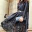 ชุดเดรสเกาหลี พร้อมส่งlong dress ผ้าซาตินด้านในอัดกาว thumbnail 2