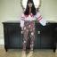 เสื้อผ้าแฟชั่นเกาหลีพร้อมส่ง กางเกงขายาวเอวาสูงพิมพ์ลายกราฟฟิกดอกไม้ thumbnail 2