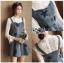ชุดเดรสเกาหลี พร้อมส่งเดรสผ้าเดนิมสกรีนลายดาวทับเสื้อลูกไม้สีขาว thumbnail 9