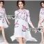 ชุดเดรสเกาหลี พร้อมส่งเดรสสีขาวปักลายดอกกุหลาบอังกฤษสีชมพู thumbnail 8