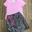 เสื้อผ้าแฟชั่นพร้อมส่ง Set คู่ เสื้อยืดคอวีแขนสั้น กระโปรงทรงเอ thumbnail 6