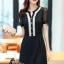 ชุดเดรสเกาหลี พร้อมส่งCC Stylish Cream & Black Dress thumbnail 1