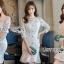 ชุดเดรสเกาหลี พร้อมส่งเดรสผ้าลูกไม้สีขาวสไตล์วินเทจ thumbnail 5
