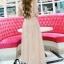 ชุดเดรสเกาหลี พร้อมส่งPastel Purple Embroidered Feathers Luxury Dress thumbnail 2