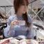 ชุดเดรสเกาหลี พร้อมส่งเดรสผ้าซิลค์ตกแต่งออร์แกนซ่าและลูกไม้สีฟ้าอ่อน thumbnail 6