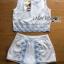 เสื้อผ้าเกาหลี พร้อมส่งเซ็ตเสื้อแขนกุดและกางเกงขาสั้นสีขาวปักตกแต่งลายสีฟ้า thumbnail 9
