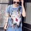 เสื้อผ้าเกาหลี พร้อมส่งGlitter Blossom Denim Dress thumbnail 6