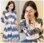 ชุดเดรสเกาหลี พร้อมส่งเดรสผ้าลูกไม้สีขาวตกแต่งสลับลาย thumbnail 4