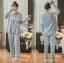 เสื้อผ้าเกาหลี พร้อมส่งเซ็ตชุดนอนผ้าคอตตอนลายตารางสีพาสเทล thumbnail 7