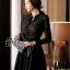 ชุดเดรสเกาหลี พร้อมส่งMini dress ลูกไม้แขนยาวสีดำ thumbnail 2