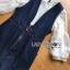 เสื้อผ้าเกาหลี พร้อมส่งเซ็ตเสื้อลูกไม้สีชาวทับด้วยเดรสเดนิมพิมพ์ลาดอกไม้ thumbnail 9