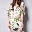 ชุดเดรสเกาหลี พร้อมส่งPink Rose Print Dress thumbnail 2