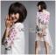 ชุดเดรสเกาหลีพร้อมส่ง เดรสสีขาวปักลายดอกกุหลาบอังกฤษสีชมพู thumbnail 5