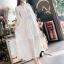 ชุดเดรสเกาหลี พร้อมส่งSummer Cross Back Luxury White Beach Dress thumbnail 2