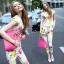 เสื้อผ้าเกาหลี พร้อมส่ง เซ็ทเสื้อ+กางเกง ตัวเสื้อใช้ผ้า 2 ชนิด กางเกง pattern สวยมาก thumbnail 6