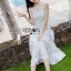 Tanya Summer Chic White Flower Embroidered and Tulle Dress thumbnail 5