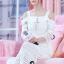 ชุดเดรสเกาหลี พร้อมส่งSummer Lifesyle Luxury White Lace Dress thumbnail 2