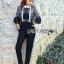 Babara Smart Casual Black & White Ruffle Lace Jumpsuit thumbnail 3