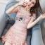 ชุดเดรสเกาหลีพร้อมส่ง มินิเดรสผ้าลูกไม้ลาย swirl สีชมพูอ่อน thumbnail 10