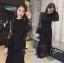ชุดเดรสเกาหลี พร้อมส่ง long dress. งานลูกไม้แขนยาวเป็นทรงแขนกระดิ่งปล่อยๆเก๋ๆ thumbnail 5