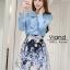 เสื้อผ้าเกาหลี เซ็ท 2 ชิ้นสุภาพ เสื้อ+กระโปรงเสื้อผ้าจอร์เจียร์ใส่สบายสุดๆ thumbnail 1
