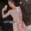 ชุดเดรสเกาหลี พร้อมส่งเดรสทรงเปิดไหล่ผ้าลูกไม้สีขาวทับผ้าสีชมพูโอลโรส thumbnail 5