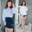 เสื้อผ้าเกาหลี พร้อมส่งเสื้อแขนยาวเย็บจั้มปลายแขน ผ้าสีพื้น ม่วง/ชมพู/ขาว thumbnail 2